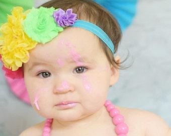 Rainbow Flower Headband | Rainbow Over the Top Flower Headband | Girl Rainbow headband | Rainbow Photo Prop