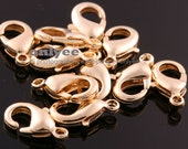 10pcs-12mmX8mm Bright Gold plated brass Lobster Claw clasps for jewelry making necklaces bracelets jewelry craft supplies(K065G)