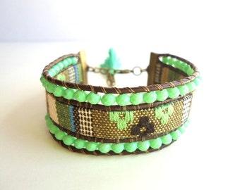 Tassel bracelet, leather cuff, fabric cuff, boho bracelet, olive green bracelet, gypsy bracelet, ethnic bracelet, nude beige bracelet