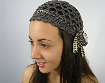 Summer hats, gatsby hat, women retro hat, summer BEANIE hat, GREY gypsy hat, womens crochet skullcap, hippie hat by ZAPrix