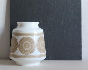 SALE 50 OFF Vintage Milk Glass Jar Flower Pot Geometric Pattern Home Decor Minimalist Decor Arko Glass