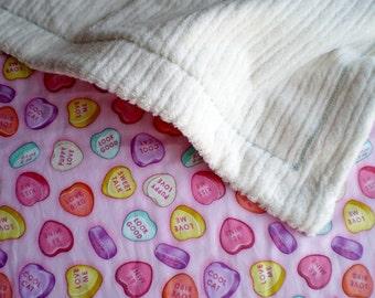 Love Heart Candy Baby Toddler Blanket for stroller or sofa