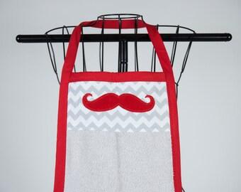 Bath towel apron - Mustache