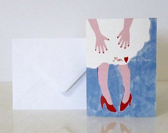 """1 """"Mon coeur est à Papa"""" card - Carte """"Mon coeur est à Papa"""""""