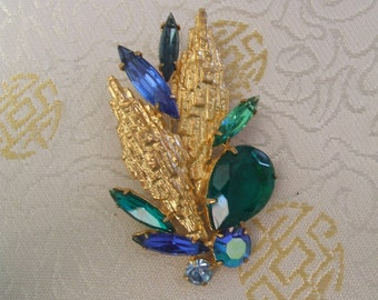 Beautiful Vintage Brooch, 1960s-70s, Cocktail Brooch, Greens and Blues