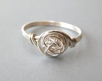 Sterling Silver Love Knot Ring, Silver Stacking Ring, Sterling Silver Ring, Any Size, Gifts for Her