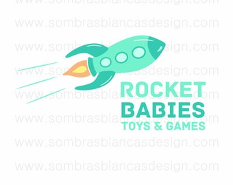 OOAK Premade Logo Design - Teal Blue Rocket - Perfect for a handmade toys shop or a blog about education and parenting