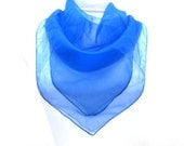 """Bright Blue Sheer Chiffon Scarf Large Square Scarf 27 x 27"""" Made in Italy"""