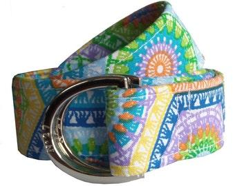 Cloth Belt/ Fabric Belt/Woman's D-Ring Belt/ Colorful Belt/ Canvas Belt/ Preppy Belt/ Fiesta Fabric D-Ring Belt