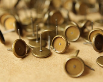 50 pc. 8mm Ear Post Blank Cabochon Setting Antique Bronze, Nickel Free | FI-165
