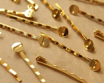 20 pc. Gold Bobby Pins, 8mm pad | FI-173