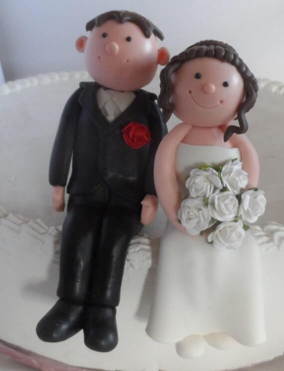 Sitting Cake Topper Black Hair Bride