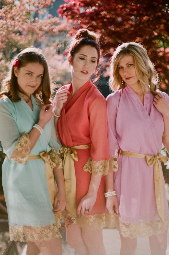 The gilded Belle. Custom lace trimmed chiffon robes in a knee length. Set of 3. Lace bridesmaids robes and metallic bridal robes.