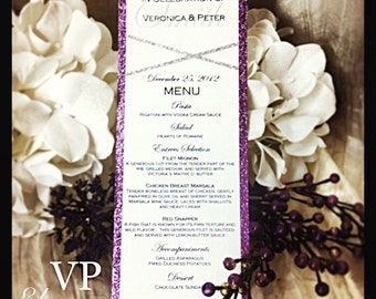 Purple and Silver Glitter Menu for: weddings, sweet sixteens, birthdays, engagement parties, and other events.