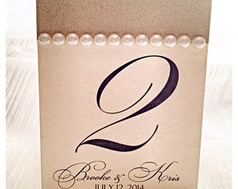 Wedding Table Numbers, Glitter Table Number, Champagne Table Numbers with Pearls, Table numebr tents