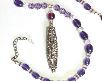 Restyled Vintage PuRpLe Amethyst Necklace Long Pendant Beaded Repurposed Smoky Rhinestone Shoe Clip Assemblage Original WishAnWearJewelry