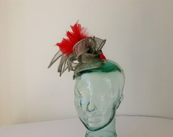 Silver and Red Fascinator