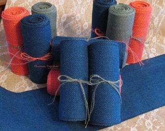 "Burlap Ribbon, 6"" Wide Ribbon, Dark Royal Blue Burlap, Garland, Blue Burlap, Blue Burlap Ribbon, Blue Decor, Wedding Decor, Holiday Decor"