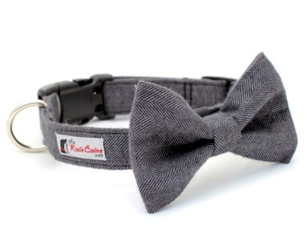 Gray Herringbone Dog Collar  (Dog Collar Only - Matching Bow Tie Available Separately)