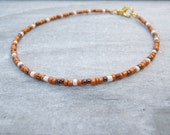 desert dune anklet made in apricot, cream and bronze - summer beach wear surfer holiday jewellery