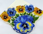 Vintage Hankie Handkerchief, Dead Stock, Beautiful Blue and Yellow Flowers, Great  for  Framing, Sewing, Crafts, Collage    G30