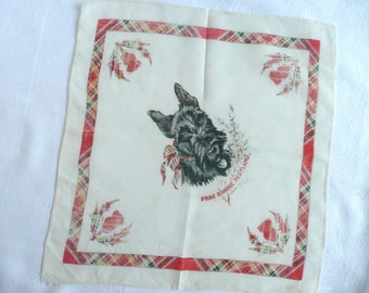 Vintage Scottish hankie - vintage Scottish souvenir handkerchief - vintage tartan hankie - silk Scottie dog handkerchief