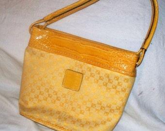 Liz Claiborne Handbag - Fabric - Purse  - Yellow Faux Croc  - Vintage