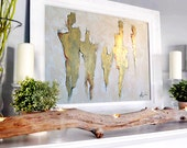 """Large Original Abstract Painting, Gold painting on canvas, Gold, Painting, Acrylic painting, 36"""", Wall Art, Etsy"""