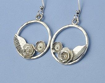 Silver Flower Earrings, Hoop Flower Earrings, Silver Hoop Flower Earrings, Flower and Leaf Earrings, Botanical Earrings, Botanical Jewelry