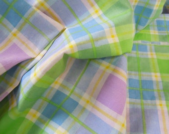 Vintage Blue Plaid Fabric, Cotton Striped Green, Blue & Purple Lines Fabric, Plaid Stripe Sewing and Crafting Material #409 #433