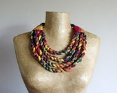 Tribal fabric bib necklace made from red, yellow and green cotton. African style statement necklace, upcycled recycled repurposed, OOAK