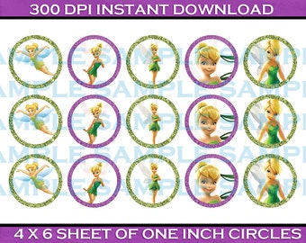 Bottle Cap Image Sheet - Tinkerbell Fairy Themed Bottle Cap Images - 1 Inch Bottle Cap Image Sheet - Printable Instant Download