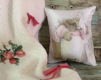 "Beatrix Potter ..9"" x 7.5"" Miss Tiggy-Winkle Hedgehog Pillow."