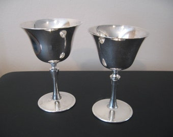 Two Vintage Silverplate Challis Wine/Liquor Cups/Goblets From Italy