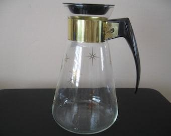 Vintage Corning Carafe/Pitcher With Starburst Design For Hot & Cold Liquids