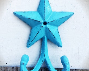 BOLD baby aqua blue star double wall hook // country cottage rustic decor // coat towel wall hook // shabby chic western cowboy