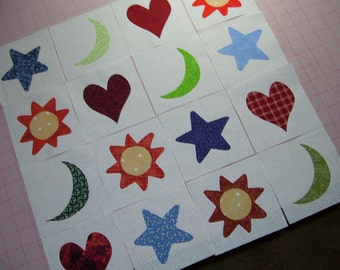 Set of 16 Luv and Lunacy Applique Quilt Blocks, Scrappy Fabrics