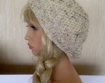 Cream Unique womens teens designer hand knit hat tweed effect irish Aran beret yarn beanie slouch hat