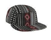 Aztec 5 Panel Hat Ikat Flat Bill Red Black and White Tribal Adjustable Unisex Snapback