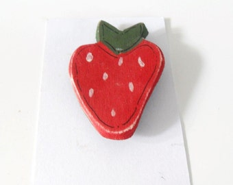 Strawberry Brooch - wooden brooch