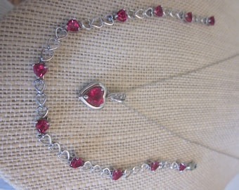 SALE Vintage Rogers & Hollands 10K White Gold Simulated Red Ruby Heart Necklace and Matching 10K  Ruby Heart Bracelet, July Birthstone