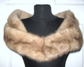 Vintage 1960s Natural Buff Brown MINK FUR Shawl Collar Stole Wrap Taupe Velvet Lining Mid Century Hollywood Marilyn Jackie O