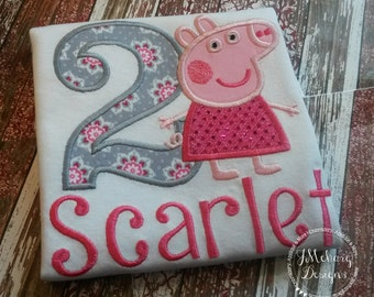 Normal Peppa Pig Birthday Custom Tee Shirt - Customizable -  Infant to Youth 203