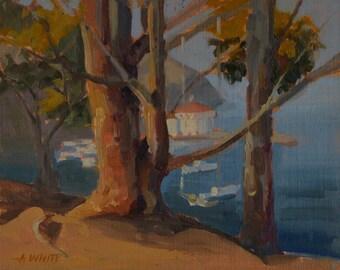 Avalon - Casino - Eucalyptus - Plein Air - Original Oil Painting - Catalina - Island - California - Coastal - Seascape - Ocean Sea - Trees