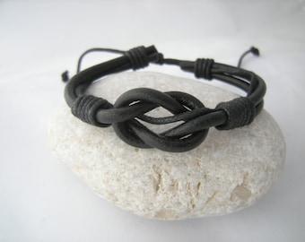 Infinity Bracelet for Men, Man Leather bracelet, Black Leather bracelet, Men bracelet, Gift for Him, Groomsmen gifts, Knot bracelet