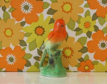 Vintage Kitsch Bird Figurine Ornament Orange Granny Chic