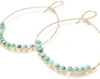 Large Gold Hoop Earrings//Chrysoprase & Gold Handmade Hoops//Boho Hoops//Big Hoop Earrings