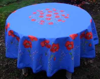 70'' diameter Round tablecloth.oilcloth, cotton  coated . Fabric from Provence, France.Poppies and Lavender in blue