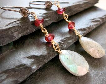 Diamond Labradorite Earrings, garnet and Labradorite teardrop earring, dangle handmade earring wire wrapped  Boho Beachy, valentine gift