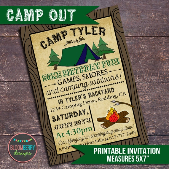 Genius image with regard to free printable camping birthday party invitations